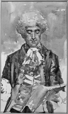 Unknown. <em>Man in 18th Century Costume</em>. Watercolor Brooklyn Museum, Bequest of William H. Herriman, 21.70 (Photo: Brooklyn Museum, 21.70_cropped_bw.jpg)