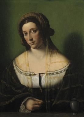 Bartolomeo Veneto (Italian, North Italian School, active 1502-1531). <em>Portrait of a Lady as Mary Magdalen</em>, 1520s. Oil on cradled panel, 22 5/8 x 17 5/8 in. (57.5 x 44.8 cm). Brooklyn Museum, Bequest of A. Augustus Healy, 21.79 (Photo: Brooklyn Museum, 21.79_SL1.jpg)