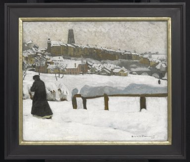 Hugues de Beaumont (French, 1874-1947). <em>Freiburg in the Snow</em>, ca. 1920. Oil on canvas, 21 1/4 x 25 5/8in. (54 x 65.1cm). Brooklyn Museum, Gift of Otto H. Kahn through the Committee for the Diffusion of French Art, 21.91 (Photo: Brooklyn Museum, 21.91_PS1.jpg)