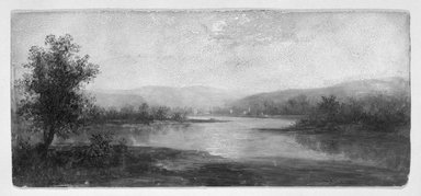 Attributed to Ralph Albert Blakelock (American, 1847-1919). <em>Landscape</em>. Oil on cardboard, 8x18 in. Brooklyn Museum, Bequest of Samuel E. Haslett, 21.93 (Photo: Brooklyn Museum, 21.93_bw.jpg)