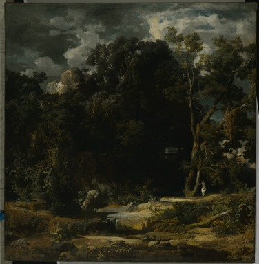 Arnold Böcklin (Swiss, 1827-1901). <em>Roman Landscape (Römische Landschaft)</em>, 1852. Oil on canvas, 29 5/16 x 28 1/2in. (74.5 x 72.4cm). Brooklyn Museum, Bequest of A. Augustus Healy, 21.94 (Photo: Brooklyn Museum, 21.94_PS2.jpg)