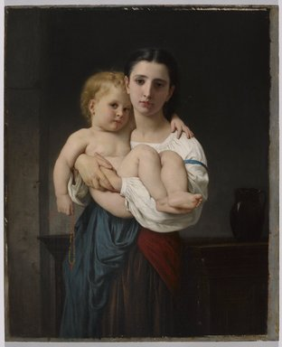 William Bouguereau (French, 1825-1905). <em>The Elder Sister, reduction (La soeur aînée, réduction)</em>, ca. 1864. Oil on panel, 21 7/8 x 17 15/16 in. (55.6 x 45.6 cm). Brooklyn Museum, Bequest of William H. Herriman, 21.99 (Photo: Brooklyn Museum, 21.99_PS9.jpg)