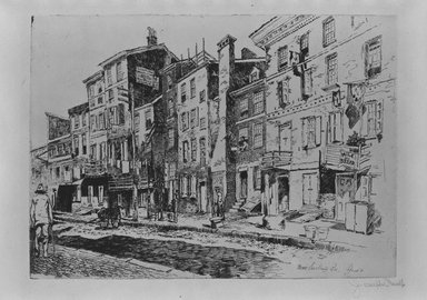 Joseph Pennell (American, 1860-1926). <em>Sauerkraut Row</em>, 1881. Etching and drypoint, plate: 8 3/8 x 11 11/16 in. (21.2 x 29.7 cm). Brooklyn Museum, 22.1051 (Photo: Brooklyn Museum, 22.1051_bw_SL5.jpg)