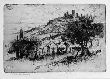 Joseph Pennell (American, 1860-1926). <em>Towers of San Gimignano</em>, 1883. Etching, plate: 8 9/16 x 12 5/8 in. (21.8 x 32 cm). Brooklyn Museum, 22.1052 (Photo: Brooklyn Museum, 22.1052_bw.jpg)