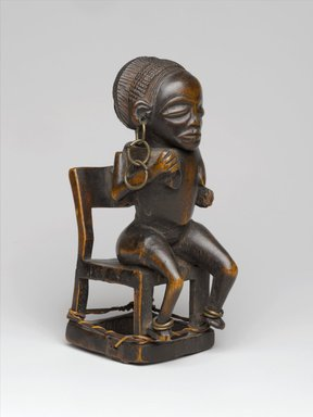 Chokwe. <em>Snuff Container (Tesa Ya Ma Kanya)</em>, 19th century. Wood, iron, fiber