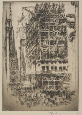 Joseph Pennell (American, 1860-1926). <em>The New Stock Exchange</em>, 1921. Etching, plate: 6 15/16 x 10 3/16 in. (17.7 x 25.8 cm). Brooklyn Museum, Museum Collection Fund, 22.1158 (Photo: Brooklyn Museum, 22.1158_PS2.jpg)