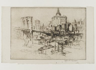Joseph Pennell (American, 1860-1926). <em>Municipal Building</em>, 1921. Etching, plate: 6 15/16 x 9 15/16 in. (17.6 x 25.2 cm). Brooklyn Museum, Museum Collection Fund, 22.1167 (Photo: Brooklyn Museum, 22.1167_PS1.jpg)