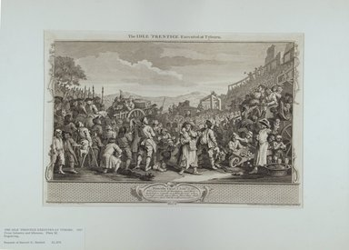 William Hogarth (British, 1697-1764). <em>The Idle 'Prentice Executed at Tyburn</em>, 1747. Engraving on laid paper, 10 11/16 x 15 7/8 in. (27.1 x 40.3 cm). Brooklyn Museum, Bequest of Samuel E. Haslett, 22.1174 (Photo: Brooklyn Museum, 22.1174_view1_PS12.jpg)