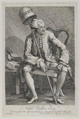 William Hogarth (British, 1697-1764). <em>John Wilkes, Esq.</em>, 1763. Etching on laid paper, 13 7/8 x 9 1/8 in. (35.2 x 23.1 cm). Brooklyn Museum, Bequest of Samuel E. Haslett, 22.1178 (Photo: Brooklyn Museum, 22.1178_PS4.jpg)