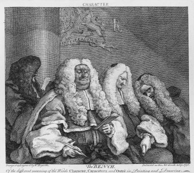 William Hogarth (British, 1697-1764). <em>The Bench</em>, 1785. Engraving on laid paper, 7 1/2 x 8 1/4 in. (19 x 20.9 cm). Brooklyn Museum, Bequest of Samuel E. Haslett, 22.1182 (Photo: Brooklyn Museum, 22.1182_bw.jpg)