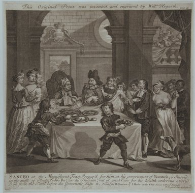 William Hogarth (British, 1697-1764). <em>Sancho at the Magnificent Feast</em>, 1733. Line engraving on laid paper, 11 13/16 x 11 13/16 in. (30 x 30 cm). Brooklyn Museum, Bequest of Samuel E. Haslett, 22.1189 (Photo: Brooklyn Museum, 22.1189_view1_PS12.jpg)