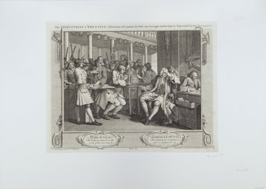 William Hogarth (British, 1697-1764). <em>The Industrious Prentice Alderman of London</em>, 1747. Engraving on laid paper, 10 1/4 x 13 9/16 in. (26.1 x 34.4 cm). Brooklyn Museum, Bequest of Samuel E. Haslett, 22.1193 (Photo: Brooklyn Museum, 22.1193_view1_PS12.jpg)