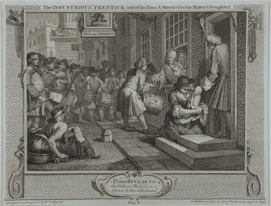 William Hogarth (British, 1697-1764). <em>The Industrious Prentice Out of His Time</em>, 1747. Engraving on laid paper, 10 3/8 x 13 9/16 in. (26.3 x 34.5 cm). Brooklyn Museum, Bequest of Samuel E. Haslett, 22.1194 (Photo: Brooklyn Museum, 22.1194_view1_PS12.jpg)