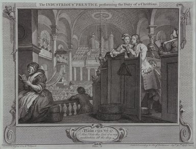 William Hogarth (British, 1697-1764). <em>The Industrious Prentice Performing the Duty of a Christian</em>, 1747. Engraving on wove paper, 10 3/8 x 13 11/16 in. (26.4 x 34.7 cm). Brooklyn Museum, Bequest of Samuel E. Haslett, 22.1196 (Photo: Brooklyn Museum, 22.1196_view1_PS12.jpg)