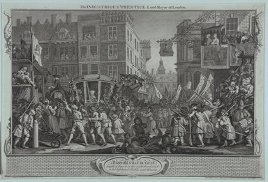 William Hogarth (British, 1697-1764). <em>The Industrious Prentice Lord-Mayor of London</em>, 1747. Engraving on laid paper, 10 11/16 x 15 7/8 in. (27.2 x 40.3 cm). Brooklyn Museum, Bequest of Samuel E. Haslett, 22.1197 (Photo: Brooklyn Museum, 22.1197_view1_PS12.jpg)