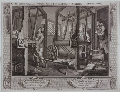 William Hogarth (British, 1697-1764). <em>The Fellow Prentices at Their Looms</em>, 1747. Engraving on laid paper, 10 3/8 x 13 11/16 in. (26.3 x 34.8 cm). Brooklyn Museum, Bequest of Samuel E. Haslett, 22.1199 (Photo: Brooklyn Museum, 22.1199_view1_PS12.jpg)