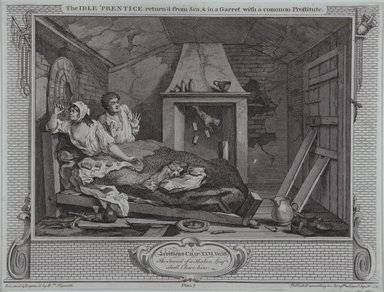William Hogarth (British, 1697-1764). <em>The Idle Prentice Returned from Sea and in a Garret with a Common Prostitute</em>, 1747. Engraving on laid paper, 10 7/16 x 13 3/4 in. (26.5 x 35 cm). Brooklyn Museum, Bequest of Samuel E. Haslett, 22.1200 (Photo: Brooklyn Museum, 22.1200_view1_PS12.jpg)