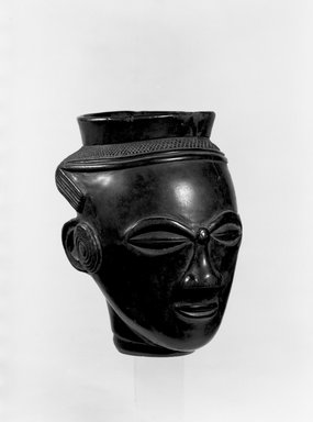Kuba. <em>Palm Wine Cup in the Form of a Head (Mbwoongntey)</em>, early 20th century. Wood, 4 15/16 x 2 7/8 in. (12.5 x 7.3 cm). Brooklyn Museum, Museum Expedition 1922, Robert B. Woodward Memorial Fund, 22.125. Creative Commons-BY (Photo: Brooklyn Museum, 22.125_bw.jpg)