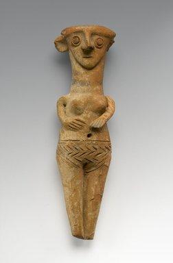 Cypriot. <em>Female Figure</em>, ca. 1450-1200 B.C.E. Terracotta, pigment, 3 9/16 x 2 3/16 x 2 1/16 in. (9.1 x 5.5 x 5.3 cm). Brooklyn Museum, Gift of Mrs. Frederic H. Betts, 22.12. Creative Commons-BY (Photo: Brooklyn Museum, 22.12_PS2.jpg)