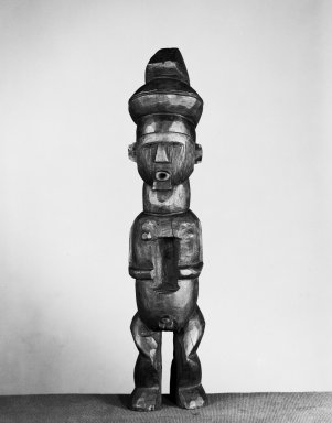 Teke. <em>Standing Male Figure</em>, 19th or early 20th century. Wood, 14 3/4 x 3 1/4 x 2 3/4in. (37.5 x 8.3 x 7cm). Brooklyn Museum, Museum Expedition 1922, Robert B. Woodward Memorial Fund, 22.139. Creative Commons-BY (Photo: Brooklyn Museum, 22.139_acetate_bw.jpg)