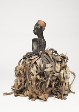 Kongo. <em>Male Figure with Strips of Hide (Nkisi)</em>, 19th century. Wood, hide, glass mirror, resin, textile, and metal, 16 1/2 × 14 1/2 × 13 1/2 in. (41.9 × 36.8 × 34.3 cm). Brooklyn Museum, Museum Expedition 1922, Robert B. Woodward Memorial Fund, 22.1455. Creative Commons-BY (Photo: , 22.1455_threequarter_PS11.jpg)