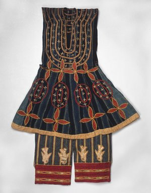 Fon. <em>Robe (Kansawu) and Trousers, from 3 Piece Royal or Noble Costume</em>, late 19th century. Cotton, silk, Tunic: 34 1/4 x 27 9/16 in. (87 x 70 cm). Brooklyn Museum, Museum Expedition 1922, Robert B. Woodward Memorial Fund, 22.1500a-b. Creative Commons-BY (Photo: Brooklyn Museum, 22.1500a-b_edited_version_SL1.jpg)