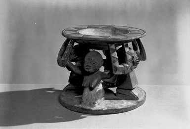 Yorùbá. <em>Carved Dish for Palm Nuts (Agere Ifa)</em>, late 19th century. Wood, paint, H: 6 1/4 x Diam: 8 in. (H: 16.0 x Diam: 19.5 cm). Brooklyn Museum, Museum Expedition 1922, Robert B. Woodward Memorial Fund, 22.1519. Creative Commons-BY (Photo: Brooklyn Museum, 22.1519_acetate_bw.jpg)