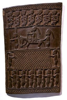 Master of Ikare. <em>Door (Ilekun)</em>, late 19th century. Iroko wood, 48 x 31 3/16 x 1 1/4 in. (121.9 x 79.2 x 3.2 cm). Brooklyn Museum, Museum Expedition 1922, Robert B. Woodward Memorial Fund, 22.1526. Creative Commons-BY (Photo: Brooklyn Museum, 22.1526_SL1.jpg)