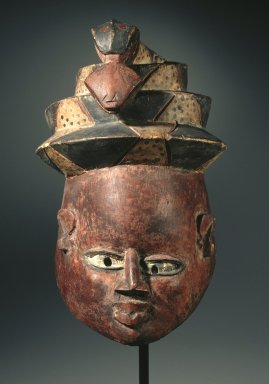 Master of the Unlevel Eyes. <em>Gelede Mask</em>, late 19th or early 20th century. Wood, pigment, 9 3/16 x 7 x 10 1/2 in. (23.3 x 17.8 x 26.7 cm). Brooklyn Museum, Museum Expedition 1922, Robert B. Woodward Memorial Fund, 22.1584. Creative Commons-BY (Photo: Brooklyn Museum, 22.1584_SL1.jpg)