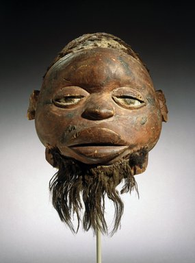 Makonde. <em>Lipiko Mask</em>, 19th century. Wood, human hair, fiber, pigment, 13 x 10 1/4 x 11 1/4 in. (33 x 26 x 28.6 cm). Brooklyn Museum, Museum Expedition 1922, Robert B. Woodward Memorial Fund, 22.1588. Creative Commons-BY (Photo: Brooklyn Museum, 22.1588_front_SL1.jpg)