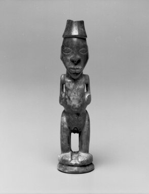 Kongo. <em>Standing Female Figure</em>, late 19th or early 20th century. Ivory, 5 1/2 x 1 1/4 x 1 1/2 in. (14.0 x 3.0 x 4.0 cm). Brooklyn Museum, Museum Expedition 1922, Robert B. Woodward Memorial Fund, 22.1594. Creative Commons-BY (Photo: Brooklyn Museum, 22.1594_bw.jpg)