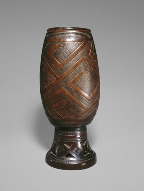 Kuba. <em>Palm Wine Cup (Mbwoongntey)</em>, 19th century. Wood, copper alloy, 8 x 3 3/4 x 3 3/4 in.  (20.3 x 9.5 x 9.5 cm). Brooklyn Museum, Museum Expedition 1922, Robert B. Woodward Memorial Fund, 22.172. Creative Commons-BY (Photo: Brooklyn Museum, 22.172_SL1.jpg)