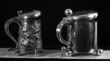 Benjamin Smith. <em>Tankard</em>, mid 17th century. Silver, Height including thumb-piece: 8 3/4 in. (22.2 cm). Brooklyn Museum, Gift of Reverend Alfred Duane Pell, 22.1794. Creative Commons-BY (Photo: Brooklyn Museum, 22.1794_glass_bw.jpg)