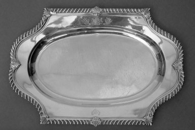 Paul de Lamerie (British, born Netherlands, 1688-1751). <em>Tray</em>, ca. 1720. Silver, 11 5/16 x 16 7/16 in. (28.7 x 41.7 cm). Brooklyn Museum, Gift of Reverend Alfred Duane Pell, 22.1813. Creative Commons-BY (Photo: Brooklyn Museum, 22.1813_acetate_bw.jpg)