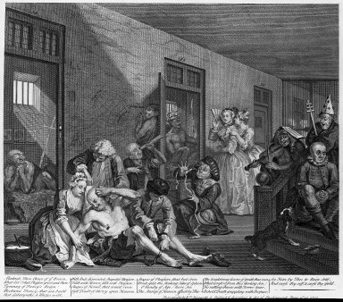 "William Hogarth (British, 1697-1764). <em>In Bedlam from ""A Rake's Progress"" Plate VIII</em>, 1735. Engraving on heavy laid paper, 14 x 16 1/16 in. (35.6 x 40.8 cm). Brooklyn Museum, Bequest of Samuel E. Haslett, 22.1844 (Photo: Brooklyn Museum, 22.1844_acetate_bw.jpg)"