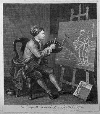 William Hogarth (British, 1697-1764). <em>Hogarth Painting the Comic Muse</em>, 1758. Engraving on laid paper, 15 15/16 x 13 15/16 in. (40.5 x 35.4 cm). Brooklyn Museum, Bequest of Samuel E. Haslett, 22.1854 (Photo: Brooklyn Museum, 22.1854_acetate_bw.jpg)