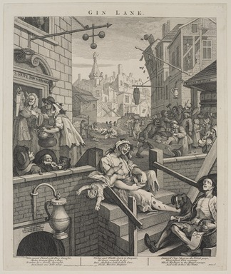 William Hogarth (British, 1697-1764). <em>Gin Lane</em>, 1751. Engraving on laid paper, 15 3/8 x 12 3/4 in. (39 x 32.4 cm). Brooklyn Museum, Bequest of Samuel E. Haslett, 22.1855 (Photo: , 22.1855_PS9.jpg)