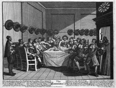William Hogarth (British, 1697-1764). <em>The Committee</em>, 1726. Engraving on laid paper, 10 9/16 x 13 7/8 in. (26.9 x 35.2 cm). Brooklyn Museum, Bequest of Samuel E. Haslett, 22.1866 (Photo: Brooklyn Museum, 22.1866_acetate_bw.jpg)