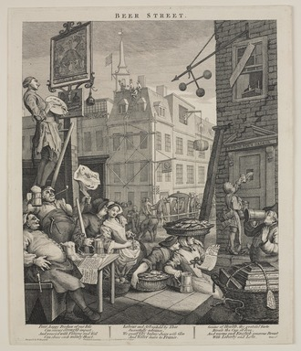 William Hogarth (British, 1697-1764). <em>Beer Street</em>, 1751. Engraving on laid paper, Image: 15 3/8 × 12 13/16 in. (39.1 × 32.5 cm). Brooklyn Museum, Bequest of Samuel E. Haslett, 22.1867 (Photo: , 22.1867_PS9.jpg)