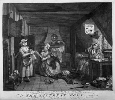 William Hogarth (British, 1697-1764). <em>The Distrest Poet</em>, 1740. Engraving on laid paper, 14 1/16 x 16 1/16 in. (35.7 x 40.8 cm). Brooklyn Museum, Bequest of Samuel E. Haslett, 22.1869 (Photo: Brooklyn Museum, 22.1869_acetate_bw.jpg)