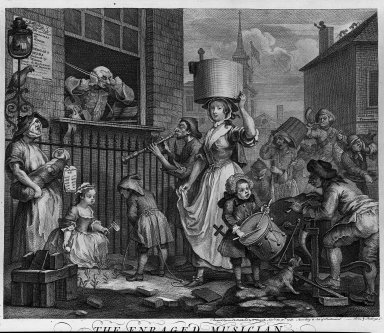 William Hogarth (British, 1697-1764). <em>The Enraged Musician</em>, 1741. Engraving on laid paper, 14 1/2 x 16 1/4 in. (36.9 x 41.2 cm). Brooklyn Museum, Bequest of Samuel E. Haslett, 22.1871 (Photo: Brooklyn Museum, 22.1871_acetate_bw.jpg)