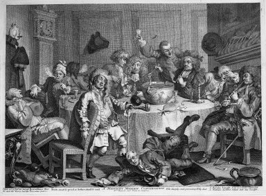 William Hogarth (British, 1697-1764). <em>A Midnight Modern Conversation</em>, 1733. Engraving on laid paper, 13 1/2 x 18 1/2 in. (34.3 x 47 cm). Brooklyn Museum, Bequest of Samuel E. Haslett, 22.1873 (Photo: Brooklyn Museum, 22.1873_acetate_bw.jpg)