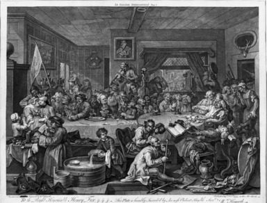 "William Hogarth (British, 1697-1764). <em>An Election Entertainment from ""Four Prints of an Election,""</em> 1755. Engraving on laid paper, 17 1/8 x 21 15/16 in. (43.5 x 55.8 cm). Brooklyn Museum, Bequest of Samuel E. Haslett, 22.1875 (Photo: Brooklyn Museum, 22.1875_bw.jpg)"
