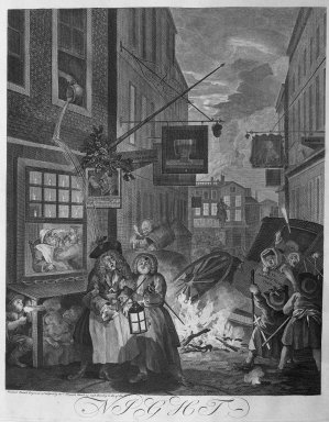 William Hogarth (British, 1697-1764). <em>Night from the Four Times of Day</em>, 1738. Engraving on laid paper, 19 5/16 x 15 15/16 in. (49 x 40.5 cm). Brooklyn Museum, Bequest of Samuel E. Haslett, 22.1878 (Photo: Brooklyn Museum, 22.1878_acetate_bw.jpg)