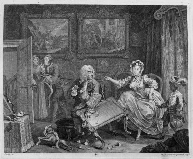"William Hogarth (British, 1697-1764). <em>Quarrels with Her Protector, from ""A Harlot's Progress,""</em> 1732. Engraving, 12 3/8 x 14 15/16 in. (31.4 x 38 cm). Brooklyn Museum, Bequest of Samuel E. Haslett, 22.1882 (Photo: Brooklyn Museum, 22.1882_acetate_bw.jpg)"