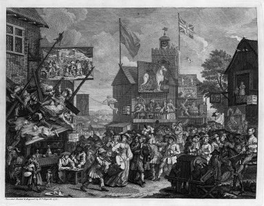 William Hogarth (British, 1697-1764). <em>Southwark Fair</em>, 1733. Engraving Brooklyn Museum, Bequest of Samuel E. Haslett, 22.1887 (Photo: Brooklyn Museum, 22.1887_bw.jpg)
