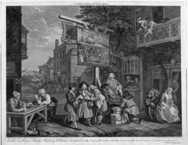 "Charles Grignion (English, 1717-1810). <em>Canvassing for Votes, from ""Four Prints of an Election,""</em> 1757. Engraving Brooklyn Museum, Bequest of Samuel E. Haslett, 22.1890 (Photo: Brooklyn Museum, 22.1890_bw.jpg)"