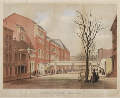 <em>Brooklyn Sanitary Fair</em>, 1864. Lithograph on wove paper, image: 13 7/8 x 18 1/2 in. (35.2 x 47 cm). Brooklyn Museum, Bequest of Samuel E. Haslett, 22.1911 (Photo: Brooklyn Museum, 22.1911_PS2.jpg)