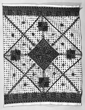 <em>Table Cloth</em>, 19th century. Cotton, embroidered Brooklyn Museum, Museum Expedition 1922, Robert B. Woodward Memorial Fund, 22.1955.7. Creative Commons-BY (Photo: Brooklyn Museum, 22.1955.7_bw.jpg)