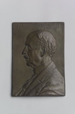 John Flanagan (American, 1865-1952). <em>Portrait Plaque of Daniel Chester French</em>, 1919. Bronze, 5 1/2 x 3 7/8 x 7/16 in. (14 x 9.8 x 1.1 cm). Brooklyn Museum, Robert B. Woodward Memorial Fund, 22.1958.2. Creative Commons-BY (Photo: Brooklyn Museum, 22.1958.2.jpg)